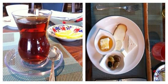 turkish breakfast, yoghurt, tea