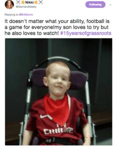 GlamandGeeky tweet about football on BritMums