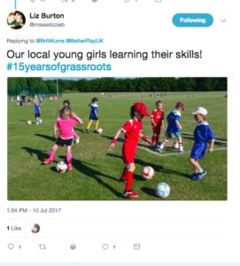 tweet about girls playing football on BritMums