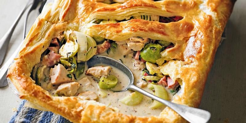 Leftover turkey recipe: Turkey, gammon & sprout pot pie