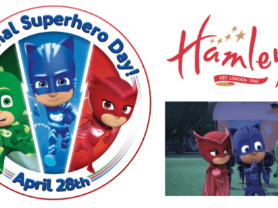 National Superhero Day giveaway logo - BritMums